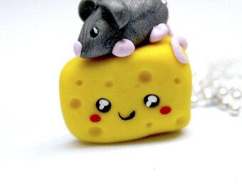 Cheese and Mouse Kawaii Necklace