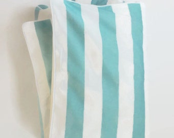 Large Stripe in Aqua and White Toddler Duvet - Aqua and White Stripe - Crib Duvet - Coastal Baby - Preppy Baby