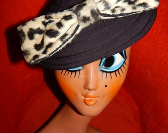 Very large vintage 50's 60's faux fur leopard cream black beige bombshell pin up bow hair clip comb brooch