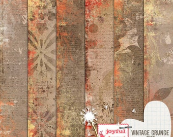 Vintage Grunge 1 - 12x12 Digital Scrapbooking Papers, Printable, Instant Download, for ATC Card, Collage, Hybrid, Mixed Media, DIY Crafts :)