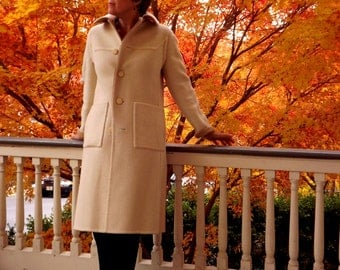 Wool Coat, Womens Long Coat, Mod Vintage Coat, Reversible Knee Length Coat, Striped Solid Cream Beige, Small XS S 2 4