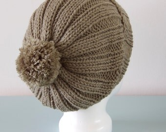 Olive Green Beanie Hat - Knitted Slouchy Merino Wool Ribbed Pom Pom Hat Unisex Accessory Gift for Him Gift for Her by Emma Dickie Design