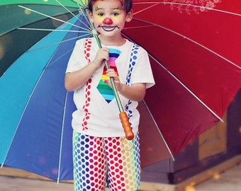 Boys Clown Carnival Costume-Clown outfit- Clown Birthday -Baby Boys-Circus 1st Birthday- Circus Costume-Halloween-Tie & Suspenders SZ 0-5t