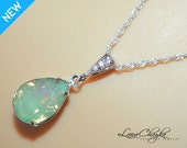 Chrysolite Green Opal Necklace Sterling Silver CZ Green Opal Necklace Swarovski Rhinestone Opal Teardrop Necklace Bridesmaid Wedding Jewelry