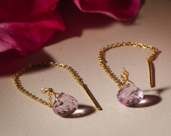 Pink Amethyst and Gold Dangle Earrings