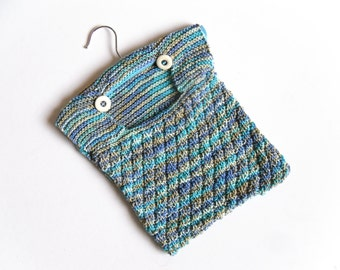 clearance sale , hand knitted laundry peg bag , hang on washing line , now half price