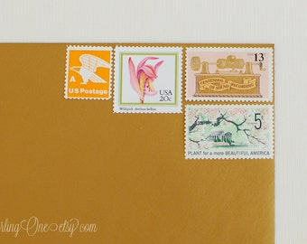 Send 4 cards - Letters Unused vintage postage stamp set to post 4. Orchids, Sound, and eagle