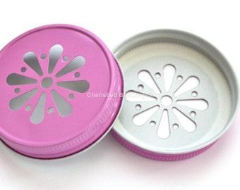 PINK Daisy Lids, Mason Jar Daisy Lids, PINK Daisy Cut Lids Colored Mason Jar Lids, Weddings Pink Baby Shower Birthday Party Table Setting