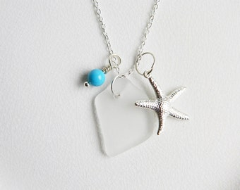 Genuine Sea Glass Necklace - White Seaglass, Silver Starfish Charms, Turquoise Swarovski Elements Pearls