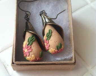 floral polymer clay drop earrings