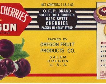 Dark Sweet Cherries From Oregon Vintage Can Label, 1930s