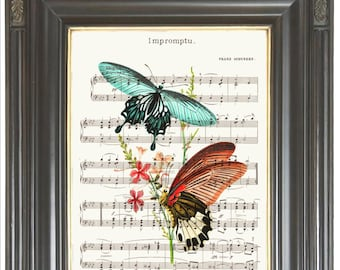 Butterfly print on dictionary or music page COUPON SALE Dictionary art print Wall art Sheet music art Digital art print Item No. 752