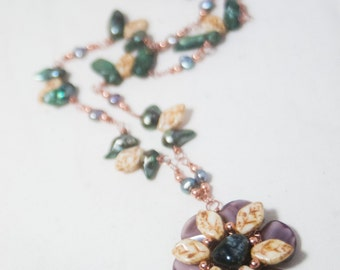 Glass Flower  Art Necklace featuring Green Baroque Pearls on Copper wire and a hand wired flower - Last Flower of Autumn - Art Jewelry