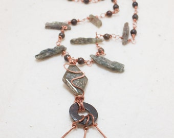Wearable Copper Art Necklace Green Kyanite Copper Fossil stone and Rusted Washer - Fossils of Industry - Art Jewelry by Sarah McTernen