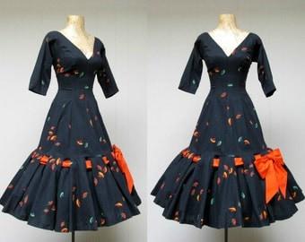 Vintage 1950s Dress / 50s Black Cotton Rockabilly Bombshell Viva Las Vegas Mermaid Dress / Extra Small - Small