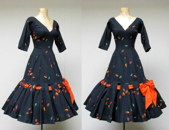 Vintage 1950s Dress / 50s Black Cotton Rockabilly Bombshell Viva Las Vegas Mermaid Dress / Extra Small - Small