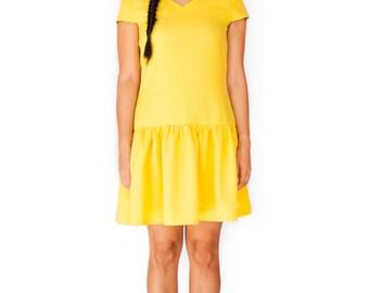 60s Mod dress yellow A line sun dress baby doll custom made