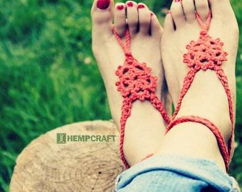 Boho Barefoot Sandals, Natural Handmade Tatted Hemp Jewelry