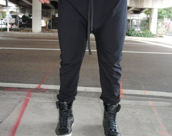 Black Drop Crotch Pants with Faux Leather Waistband and Cuffs / Adjustable Drawstring  / Also Available for Women