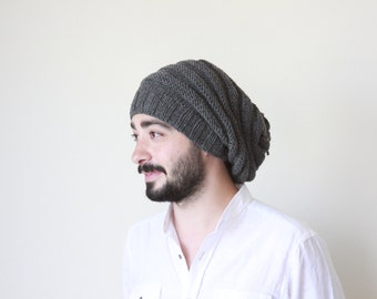 Men knit hat, Winter hat for men, Grey hat, Slouch hat for men, Wool hat for men, Mens Slouchy beanie, Knit hat for men
