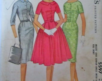 McCalls 5597 Womens 50s Dress Full or Slim Skirt Sewing Pattern Bust 31 1/2