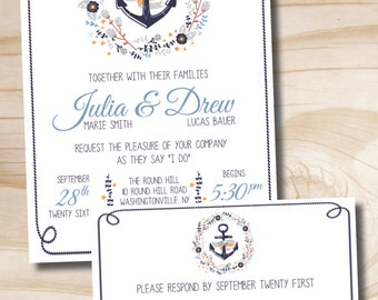 Anchor Wedding Invitation and Response Card - Printable Invitation