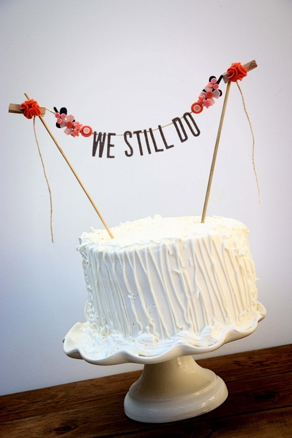 Wedding cake banner wedding cake topper wedding cake - Th anniversary cake decorations ...