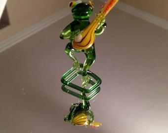 Vintage Italian Murano Art Glass Frog   Figurine Miniature Collectible Animal