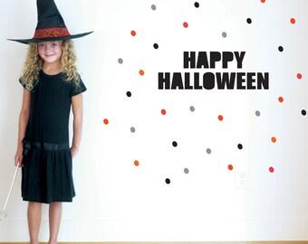Happy Halloween Wall Decal, Halloween, Black Letters, Orange, Modern, Halloween Decor. Happy Halloween Wall Decal