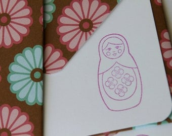 Set of 3 Stationery - Fuschia Hot Pink with Light Blue Flowers and Brown Background - Russian Dolls