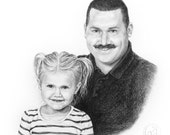 Custom Portrait - Handmade Pencil Drawing from a photo - realistic sketch illustration - family, couple, kids, wedding portraits