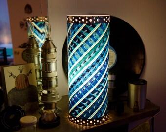 Unique Handmade Lamp made of 35 mm Movie Film- TWILIGHT / Houseware - Light - Cinema - Blue Green Cyan - Love - Decoration - Upcycling gift