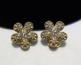 NOLAN MILLER Jewelry Earrings Glass Rhinestone Flower Gold Plate
