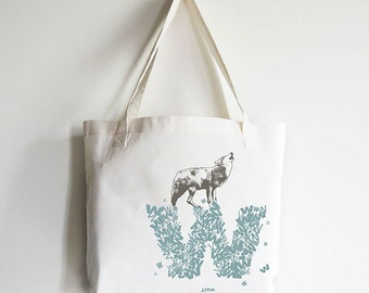"""Personalized """"W"""" for Wolf - Reusable Tote Bag"""