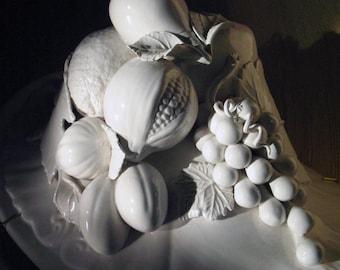 """Vintage -  Italian- White Glazed """"Capodimonte"""" Earthenware Centerpiece"""