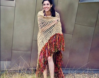 Lightweight Blanket Afghan Throw Hand Knit with Decorative Fringe (custom colors)