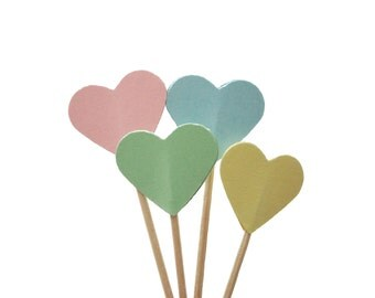 24 Yellow Pink Green Blue Heart Party Picks, Cupcake Toppers, Food Picks, Toothpicks - No760