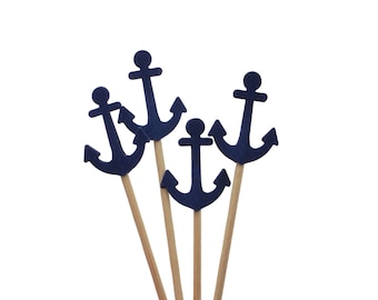 24 Nautical Navy Blue Anchors Party Picks, Cupcake Toppers, Food Picks, Sandwich Picks, Toothpicks - No898