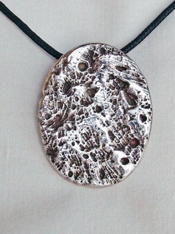 Coral Pendant Fine Silver Oval for Men Handmade
