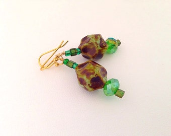 Mossy Green Glass & Crystal Dangle Beaded Earrings - green forest and lime - fresh greens - ab aurora borealis - sparkly
