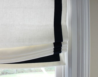 Custom Casual Roman Shade In Kravet Dublin Linen With