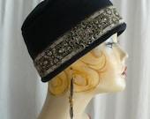 Black Fez Cap with Wide Edwardian Trim