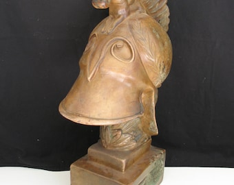 Macedonian Battle Helmet Ancient Warrior Bust Greek Roman Soldier Ceramic Statue