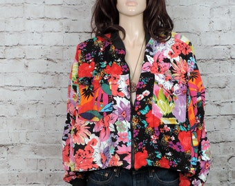 90's Cropped Cotton Jacket/ Vintage 1990's Abstract Tropical Beaded Slouchy Jacket/ S M