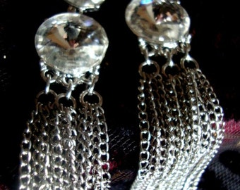 Clip On Vintage Austrian Crystal Earrings Vintage Jewelry Holiday Accessories Gift for Her Bridal Accessories Dangle Earrings OC