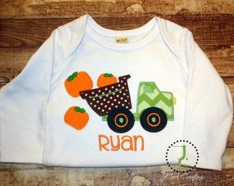 Pumpkin Truck Shirt - Dump Truck Shirt, Pumpkin Shirt, Boys Thanksgiving Shirt, Coordinating Sibling, Boys Halloween Shirt, Halloween