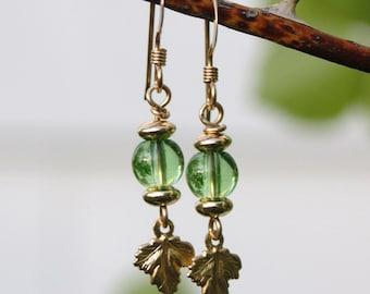 "Peridot Green Glass 14kt Gold Filled Leaf Short Dangle Earrings--""Spring Leaf Buds"""