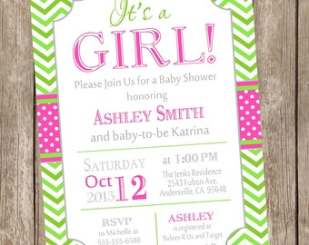 It's a girl baby shower invitation, hot pink and lime, typography, chevron, printable invitation