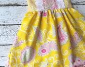 Girls yellow pink Dress sun dress, girl lemonade stand dress, girl modern dress, madeleine dress, yellow dress, pretty little things