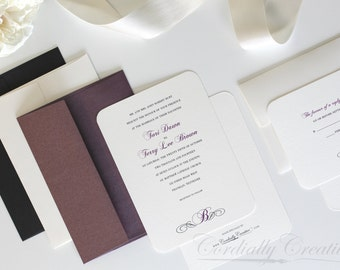 Traditional Initial Wedding Invitation (shown in purple and cream, with RSVP Card) with a simple monogram design for wedding or other event